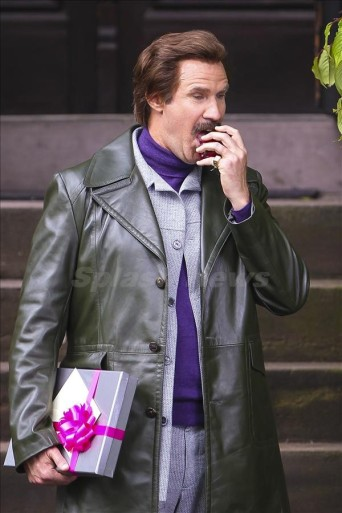 Will Ferrell picks an apple from a tree and eats it while filming in Brooklyn, New York